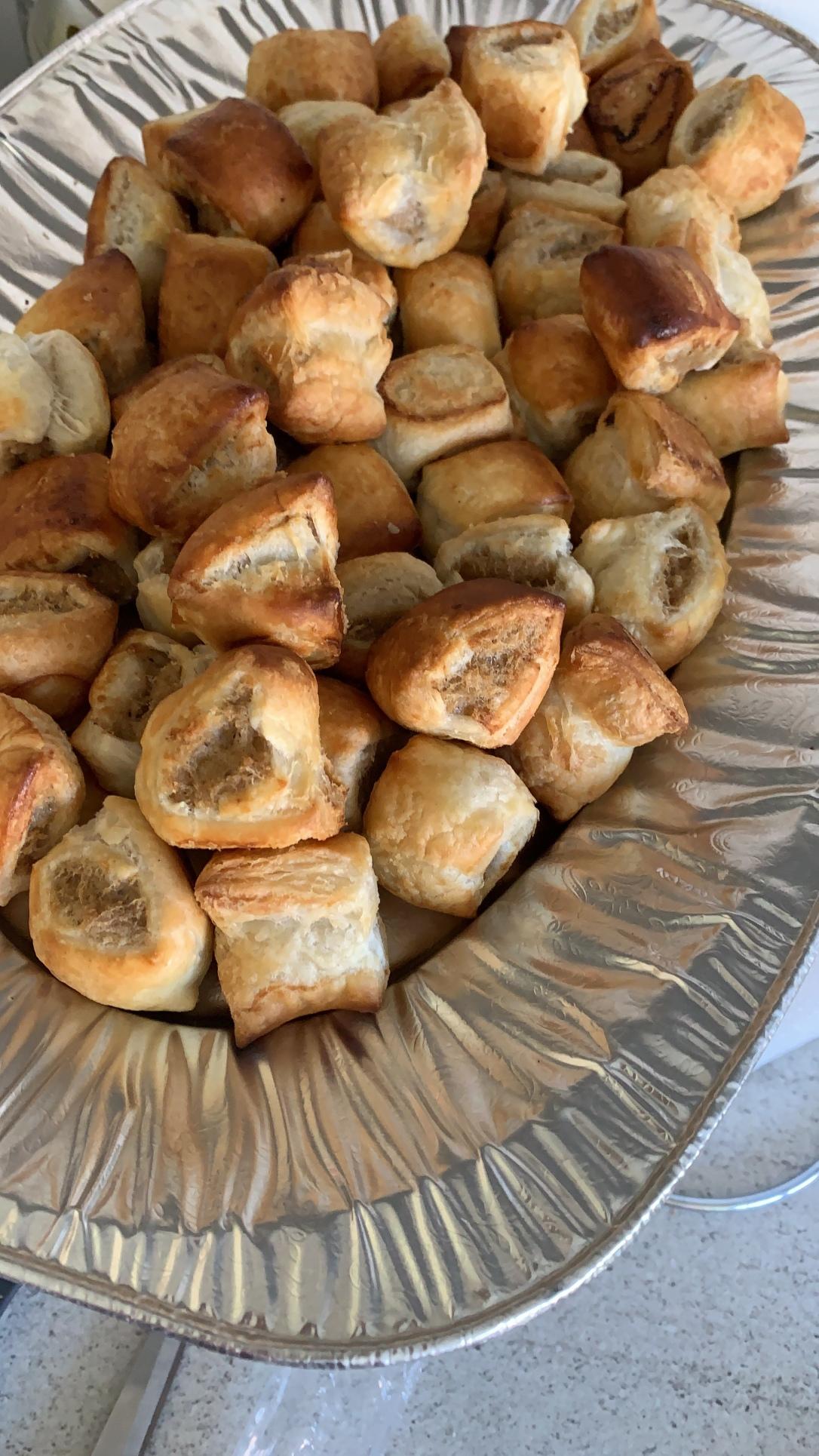 Platter of sausage rolls